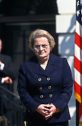 Secretary of State Madeleine Albright during an event on the Chemical Weapons Ban treaty at the White House event April 4,1997 in Washington, DC.