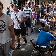 The touristic model of entertainment and consumption leads to an increasing privatisation of public space: Barcelona's streets are being invaded by bar and restaurant terraces.