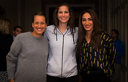 February 9, 2019 - Doha, QATAR - Barbora Strycova of the Czech Republic, Julia Goerges of Germany & Fatma Al-Nabhani of Oman attend the draw ceremony of the 2019 Qatar Total Open WTA Premier tennis tournament (Credit Image: © AFP7 via ZUMA Wire)