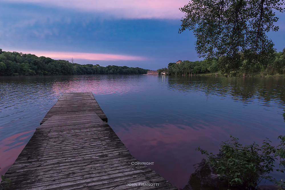 A summer evening descends upon the Fox River, Appleton, Wisconsin