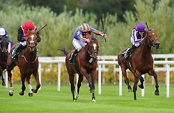 Rostropovich ridden by Donnacha O'Brien (centre) win the Paddy Rewards Club Stakes during day one of the 2018 Longines Irish Champions Weekend at Leopardstown Racecourse, Dublin.