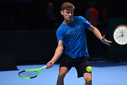 November 10, 2017 - London, England, United Kingdom - David Goffin of Belgium is pictured during a training session prior to the Nitto ATP World Tour Finals at O2 Arena, London on November 10, 2017. (Credit Image: © Alberto Pezzali/NurPhoto via ZUMA Press)