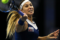 February 1, 2018 - Saint Petersburg, Russia - Dominika Cibulkova of Slovakia returns the ball to Kristina Mladenovic of France during the St. Petersburg Ladies Trophy ATP tennis tournament match in St. Petersburg  (Credit Image: © Igor Russak/NurPhoto via ZUMA Press)