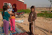 El Qaa, Lebanon, 30 meters from the border with Syria. This family of Syrian refugees came from Nizarié. They have been living with 11 persons in a 1 room house without water or electricity for 3 months.