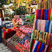 A stall selling silk scarves and other souvenirs on the streets of Istanbul near Hagia Sophia