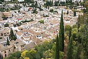 Alhambra, Granada, Andalucia, Spain. Granada cityscape from the Alhambra