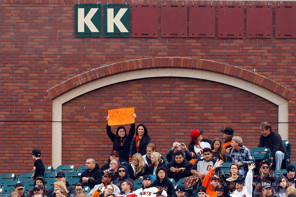 June 6, 2011; San Francisco, CA, USA;  San Francisco Giants fans hold up a sign counting down to the 1000th career strike out by starting pitcher Tim Lincecum (not pictured) during the first inning against the Washington Nationals at AT&T Park.