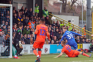 AFC Wimbledon striker Joe Pigott (39) with a header on goal during the The FA Cup 5th round match between AFC Wimbledon and Millwall at the Cherry Red Records Stadium, Kingston, England on 16 February 2019.