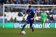Callum Paterson of Cardiff City in action. EFL Skybet championship match, Cardiff city v Birmingham City at the Cardiff city stadium in Cardiff, South Wales on Saturday 10th March 2018.<br /> pic by Andrew Orchard, Andrew Orchard sports photography.