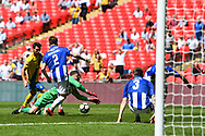 Chris Rackley of Thatcham Town (1) attempts to collect the rebound during the FA Vase match between Stockton Town and Thatcham Town at Wembley Stadium, London, England on 20 May 2018. Picture by Stephen Wright