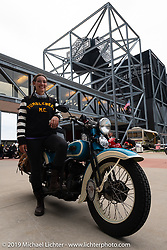 Jody Perewitz at the Harley-Davidson Museum with her 1936 Harley-Davidson VLH during the Cross Country Chase motorcycle endurance run from Sault Sainte Marie, MI to Key West, FL (for vintage bikes from 1930-1948). Stage 2 from Ludington, MI to Milwaukee, WI, USA. Saturday, September 7, 2019. Photography ©2019 Michael Lichter.
