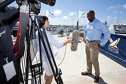 Former Manchester City football star and Bermudan local Shaun Goater interviewed by Red Handed TV on day 1 of the Argo Group Gold Cup 2010. Hamilton, Bermuda. 5 October 2010. Photo: Subzero Images/WMRT