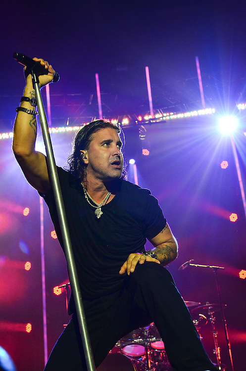 BETHLEHEM, PA - AUGUST 27:  Vocalist Scott Stapp of the band Creed performs in concert at the Sands Event Center on August 27, 2012 in Bethlehem, Pennsylvania.  (Photo by Lisa Lake/Getty Images)