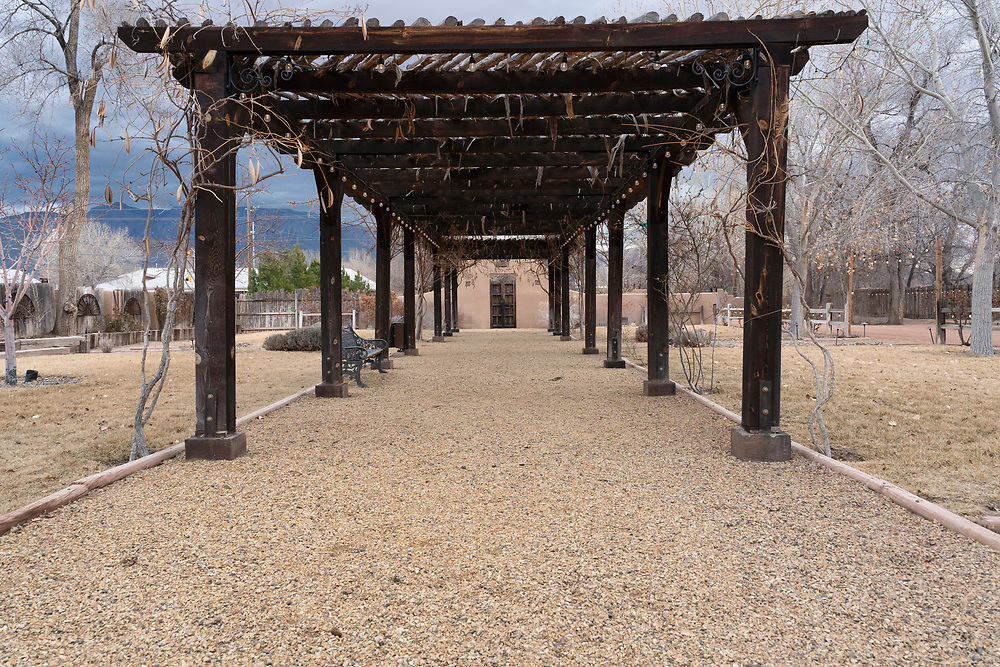 Winter on the grounds at Casa Perea Art Space in Corrales,
