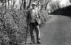 Elderly man in the countryside, Notts, UK 1991
