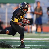 (Photograph by Bill Gerth/ for SVCN/8/18/17) Del Mar RB Dylan Oliver looks for yardage in the  BVAL Football Jamboree at Leigh High School, San Jose CA on 8/18/17.