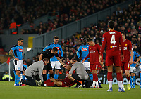 Football - 2019 / 2020 UEFA Champions League - Group E: Liverpool vs. Napoli<br /> <br /> Fabinho of Liverpool receives treatment before going off injured, at Anfield.<br /> <br /> COLORSPORT/ALAN MARTIN