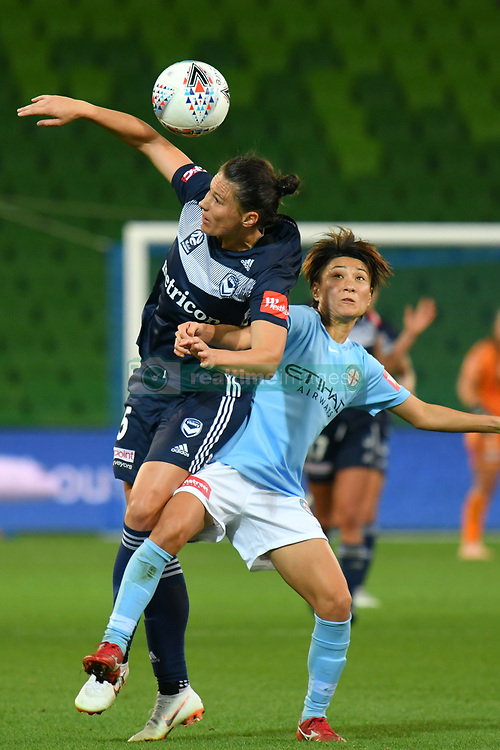 November 16, 2018 - Melbourne, Victoria, Australia - EMILY GIELNIK (15) of Melbourne Victory jumps for the ball in round 3 of the W-League competition between Melbourne City and Melbourne Victory during the 2018 season at AAMI Park, Melbourne, Australia. The Westfield W-League is Australia's national women's semi-professional soccer league. Melbourne Victory won 2-0. (Credit Image: © Sydney Low/ZUMA Wire)