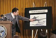 Secretary of Defense Casper Weinberger at a Pentagon press conference on Soviet Military Power..Photograph by Dennis Brack BB31