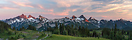 Panorama of the Tatoosh range from Mazama Ridge in Mount Rainier National Park, Washington State, USA. Peaks of the Tattoosh Range here include The Castle, Pinnacle, Plummer, Denman, Lane, Wahpenayo, Chutla and Eagle Peaks (from left to right).