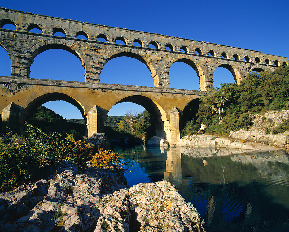 Pont du Gard is one of the finest examples of Roman aqueducts extant, in Dept. Gard, France.
