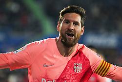 January 6, 2019 - Getafe, Spain - Barcelona forward LIONEL MESSI celebrating a goal during Spanish La Liga action against Getafe at Coliseum Alfonso Perez. (Credit Image: © AFP7 via ZUMA Wire)