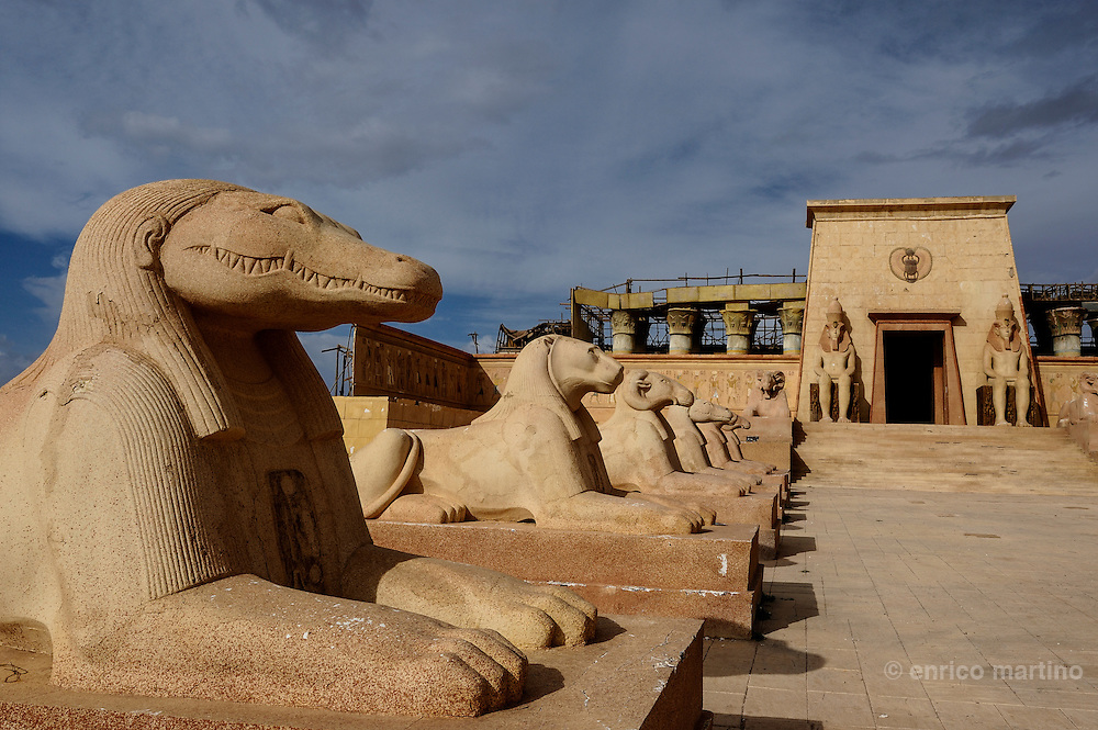Atlas Studios. Luxor set, Egyptian temple for Asterix & Obelix: Mission Cleopatra. <br /> Atlas Studios are the first Film Studio located in North Africa, the site is spread over 20 hectares with many sets of the multiple movies turned in studios.