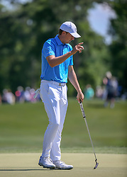 March 31, 2018 - Humble, TX, U.S. - HUMBLE, TX - MARCH 31: Jordan Spieth (USA) acknowledges the gallery after sinking the birdie putt on 2 during Round 3 of the Houston Open on March 31, 2018 at Golf Club of Houston in Humble, Texas.  (Photo by Leslie Plaza Johnson/Icon Sportswire) (Credit Image: © Leslie Plaza Johnson/Icon SMI via ZUMA Press)