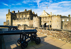 Canons on ramparts of Stirling Castle in Stirling , Scotland, UK