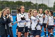 Surbiton celebrate. Holcombe v Surbiton - Investec Women's Hockey League Final, Lee Valley Hockey & Tennis Centre, London, UK on 29 April 2018. Photo: Simon Parker