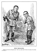 "Poor Propaganda. ""What do you mean by letting that out? Don't you realize that I'm the only member of my family in Germany?"" (Hitler holds a declaration: '""Germans must be proud that probably every family will have the honour of sacrificing a member to win the final victory."" [Latest News: Munich]' as Goebbels looks on embarrassed)"