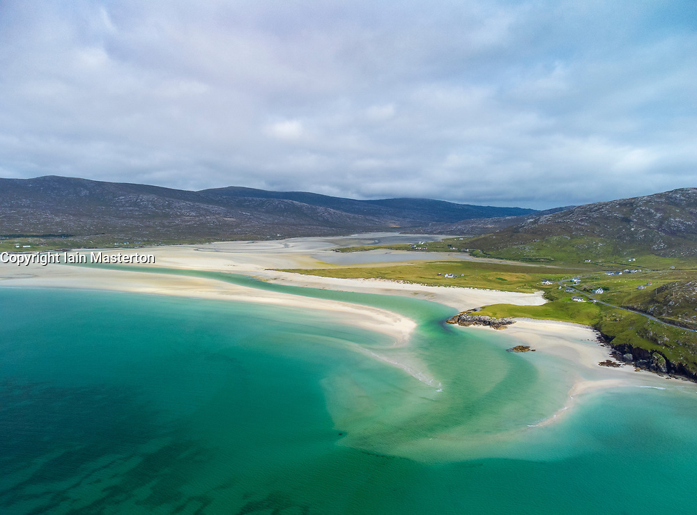 Aerial view from drone  of Luskentyre Beach and Sound of Taransay, from Seilebost on the Isle of Harris, Outer Hebrides, Scotland, UK