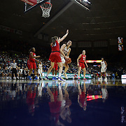 Breanna Stewart, UConn, shoots past Alicia Froling, SMU, during the UConn Vs SMU Women's College Basketball game at Gampel Pavilion, Storrs, Conn. 24th February 2016. Photo Tim Clayton