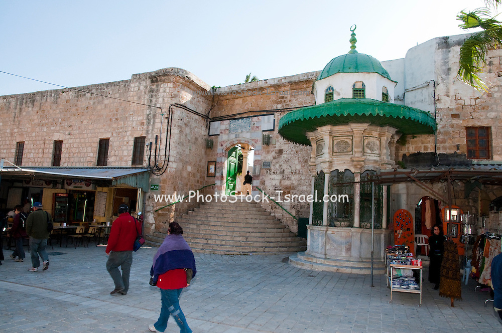 Israel, Acre, entrance to the Ahmed Al Jazzar mosque in the old city of acre
