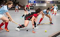 HAMBURG  (Ger) - Rotweiss Wettingen (Sui)  v  MHC Laren (Ned).  foto:  Sabrina Solomons (Wett) between Pam van Asperen (Laren) and Macey de Ruiter (Laren)      , Eurohockey Indoor  Club Cup 2019 Women . WORLDSPORTPICS COPYRIGHT  KOEN SUYK