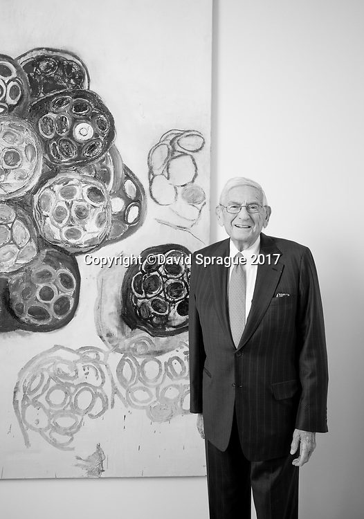 Philanthropist and art collector Eli Broad in his offices in Century City, CA. Sept. 7, 2017  ©2017 Photo by David Sprague
