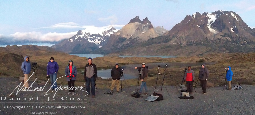 The Explorer crew waiting for the alpinglow to make it's appearance on the beautiful mountains in Torres del Paine NP. Patagonia
