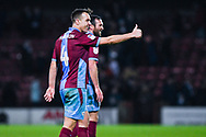 Thumbs up after winning 2-1 from new signing Anthony McMahon of Scunthorpe United (4) during the EFL Sky Bet League 1 match between Scunthorpe United and Coventry City at Glanford Park, Scunthorpe, England on 5 January 2019.