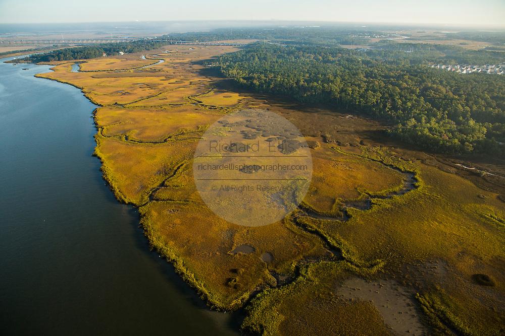 Aerial view of marsh on Daniel Island Charleston, South Carolina.