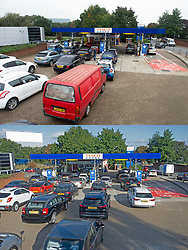 © Licensed to London News Pictures 08/10/2021.<br /> Sidcup, UK, Comparison image, (TOP) Motorists queuing for fuel today (08.10.2021) at Tesco's petrol station in Sidcup, South East London and (bottom) Motorists queuing at the same petrol station (24.09.2021). The petrol shortage continues in London and the South East with retailers calling for an inquiry into the fuel crisis. Motorists continue to queue.  Photo credit:Grant Falvey/LNP
