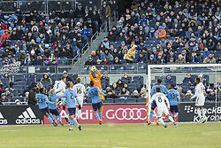 March 11, 2018 - New York, New York, United States - Goalkeeper Sean Johnson (1) of NYC FC saves goal during regular MLS game against LA Galaxy at Yankee stadium NYC FC won 2 - 1  (Credit Image: © Lev Radin/Pacific Press via ZUMA Wire)