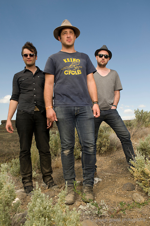 George, WA. - May 27th, 2012 (From left) Eric Sanderson, Billy McCarthy and Rob Allen of We Are Augustines pose for a portrait backstage at the Sasquatch Music Festival in George, WA. United States