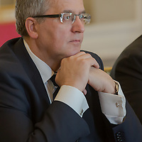 Bronislaw Komorowski president of Poland talks during a meeting in Budapest, Hungary on March 21, 2014. ATTILA VOLGYI
