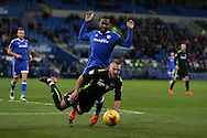 Jiri Skalak of Brighton is fouled by Junior Hoilett of Cardiff city. EFL Skybet championship match, Cardiff city v Brighton & Hove Albion at the Cardiff city stadium in Cardiff, South Wales on Saturday 3rd December 2016.<br /> pic by Andrew Orchard, Andrew Orchard sports photography.