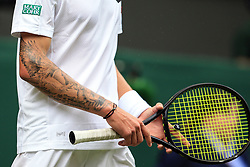 3 July 2017 -  Wimbledon Tennis (Day 1) - Andy Murray v Alexander Bublik - The heavily tattooed arm of Alexander Bublik (KAZ) - Photo: Marc Atkins / Offside.