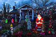 A Christian home celebrates the arrival of the festive Christmas season with a fine display of lights and illuminations near Asheville, North Carolina, USA. (photo by Christopher Pillitz/In Pictures via Getty Images)