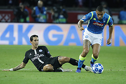 PSG's Angel Di Maria battling Napoli's Allan during the Group stage of the Champion's League, Paris-St-Germain vs Napoli in Parc des Princes, Paris, France, on October 24th, 2018. PSG and Napoli drew 2-2. Photo by Henri Szwarc/ABACAPRESS.COM