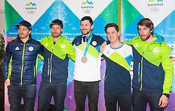 Slovenian Biathlon Team during Arrival of Jakov Fak, Silver medalist at Olympic Games in Pyeongchang 2018, on February 25, 2018 in Aerodrom Ljubljana, Letalisce Jozeta Pucnika, Kranj, Slovenia. Photo by Ziga Zupan / Sportida