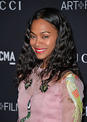 Zoe Saldana attends the 2016 LACMA Art + Film Gala honoring Robert Irwin and Kathryn Bigelow presented by Gucci at LACMA on October 29, 2016 in Los Angeles, California. Photo by Lionel Hahn/AbacaUsa.com