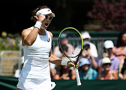 LONDON, July 3, 2018  Samantha Stosur of Australia celebrates after the women's singles first round match against Peng Shuai of China at the Championship Wimbledon 2018 in London, Britain, on July 3, 2018. Samantha Stosur won 2-0. (Credit Image: © Tang Shi/Xinhua via ZUMA Wire)